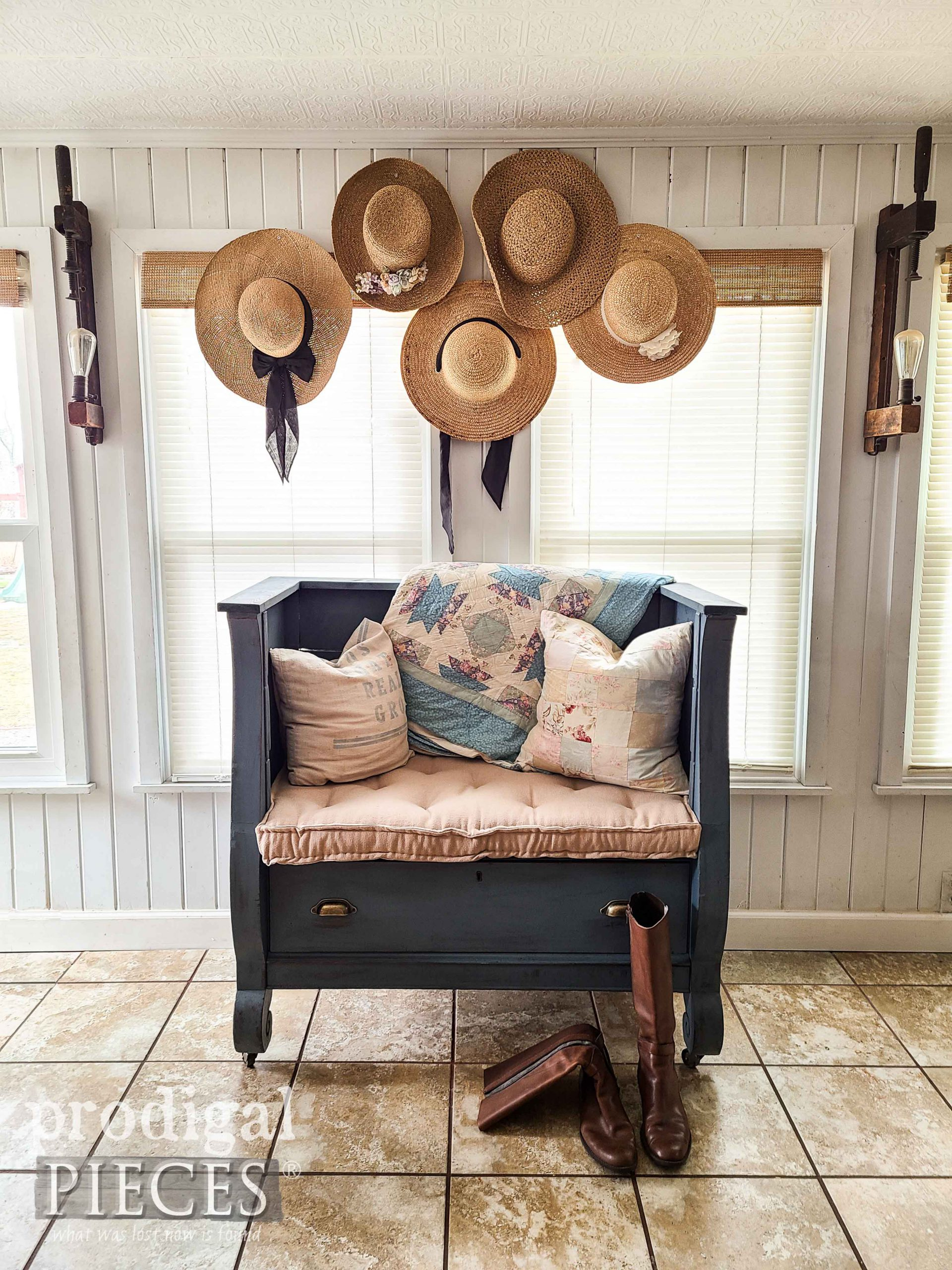 Repurposed Antique Chest into Bench by Larissa of Prodigal Pieces | shop.prodigalpieces.com #prodigalpieces