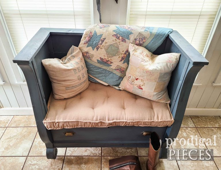 Tufted French Mattress on Bench by Larissa of Prodigal Pieces | shop.prodigalpieces.com #prodigalpieces