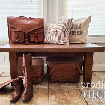 Farmhouse Style Reclaimed Bench Built by Larissa of Prodigal Pieces | available at shop.prodigalpieces.com #prodigalpieces #home #farmhouse #homedecor #shopping