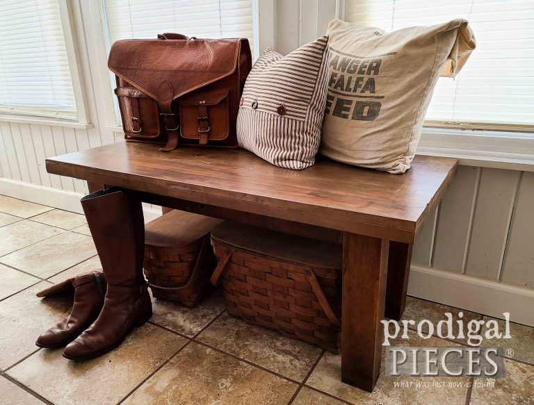 Repurposed Farmhouse Bench by Larissa of Prodigal Pieces | shop.prodigalpieces.com
