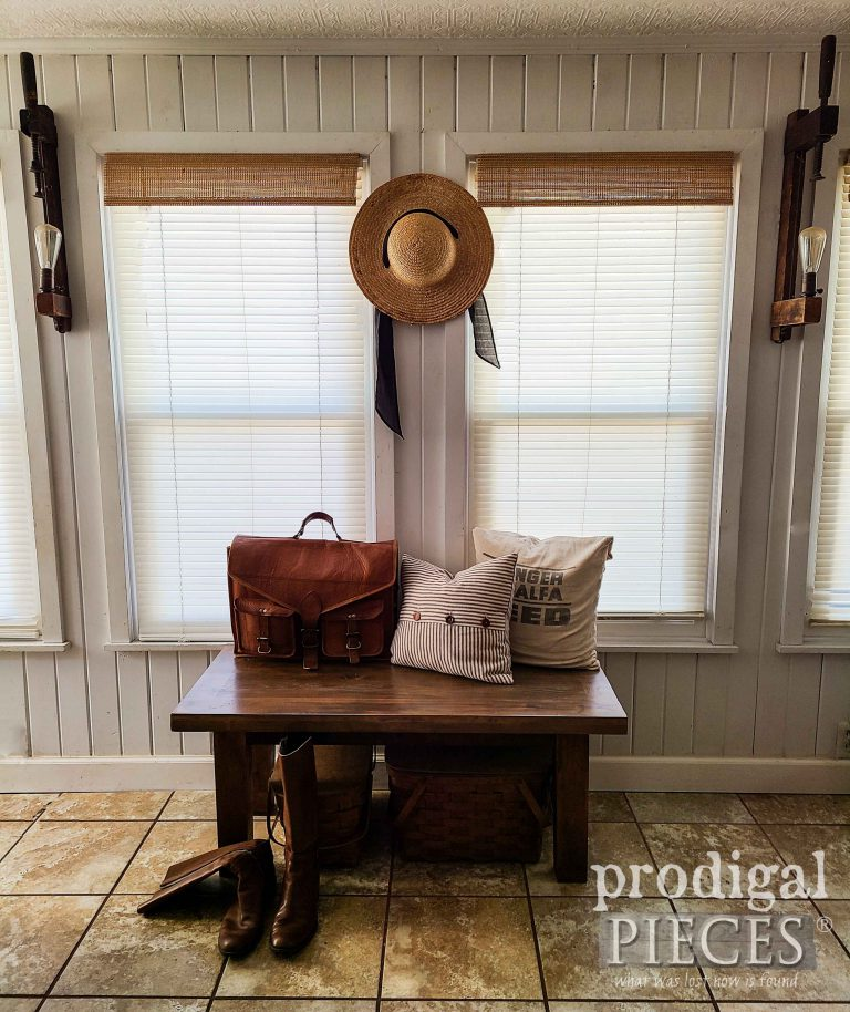 Rustic Farmhouse Reclaimed Bench by Larissa of Prodigal Pieces | shop.prodigalpieces.com #prodigalpieces