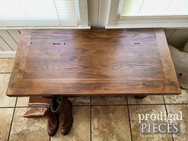 Upcycled Dresser Top on Reclaimed Bench | shop.prodigalpieces.com