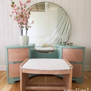 Art Deco Dressing Table Set with Upholstered Bench by Larissa | available at Prodigal Pieces | shop.prodigalpieces.com
