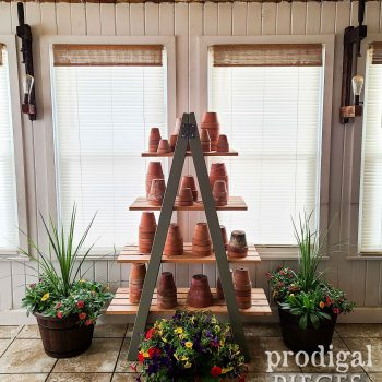 Farmhouse Tiered Ladder Shelf for Home Decor by Larissa of Prodigal Pieces | shop.prodigalpieces.com #prodigalpieces #shopping #home #homedecor #garden