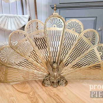 Vintage Brass Peacock Fireplace Screen with Griffen available at Prodgial Pieces | shop.prodigalpieces.com #prodigalpieces #shopping #midcenturn #vintage