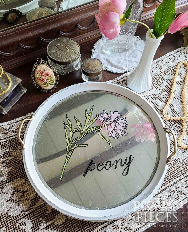 Mirrored Glass Serving Tray with Painted Peony by Larissa of Prodigal Pieces | shop.prodigalpieces.com