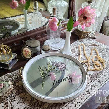 Vitnage Round Glass Serving Tray with Peony Painting by Larissa of Prodigal Pieces | available at shop.prodigalpieces.com #prodigalpieces #shopping