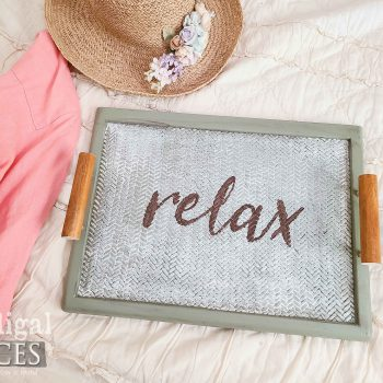 """Vintage Style Serving Tray with """"Relax"""" Text by Larissa of Prodigal Pieces 