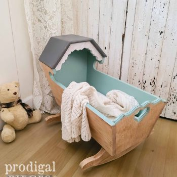 Vintage Baby Cradle Made of White Oak and Linen Mattress by Larissa of Prodigal Pieces | available at shop.prodigalpieces.com #prodigalpieces