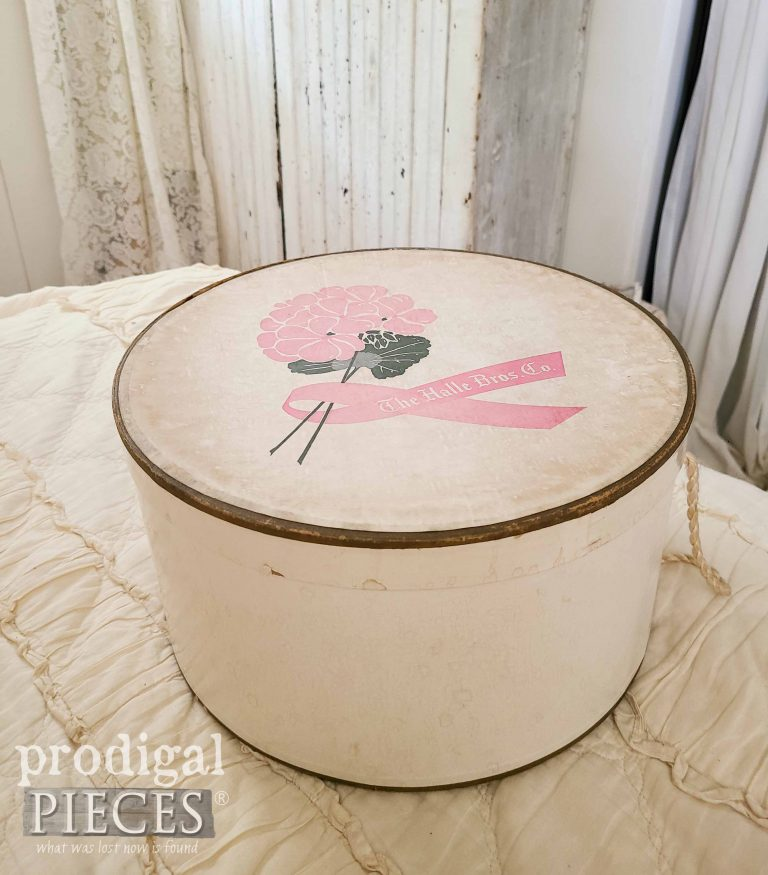 Vintage Hat Box by The Halle Bros. Co. available at Prodigal Pieces | shop.prodigalpieces.com #prodigalpieces #vintage #shopping #home #homedecor
