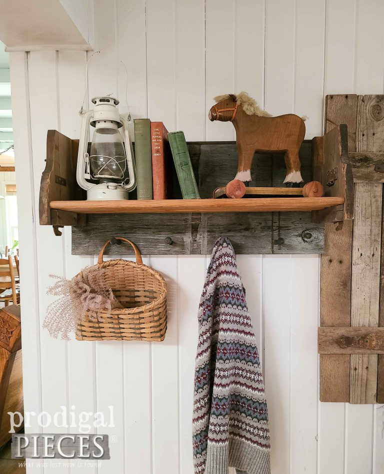 Farmhouse Shelf Rack with Shaker Pegs available at Prodigal Pieces   shop.prodigalpieces.com #prodigalpieces #shopping #farmhouse #diy #reclaimed