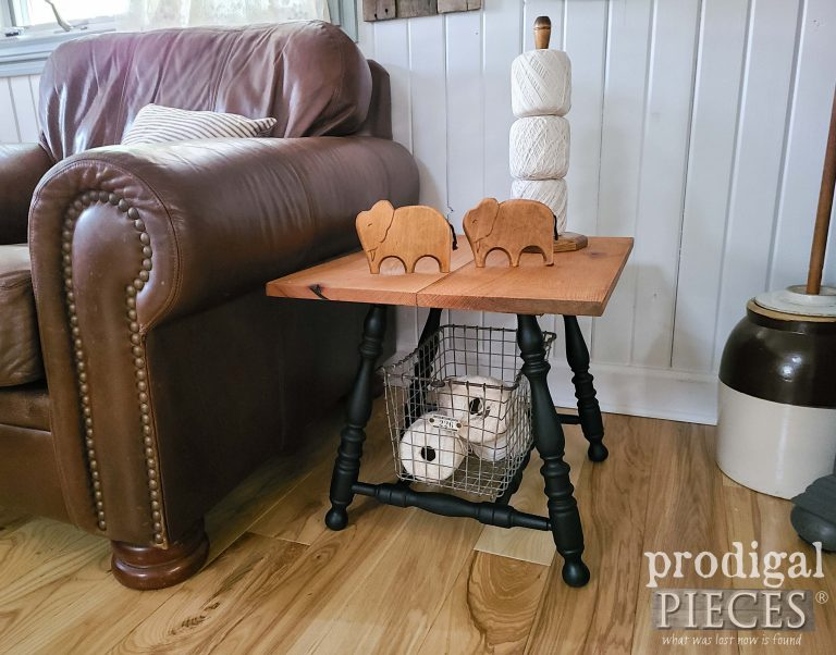 Rustic Handmade Farmhouse Side Table by Larissa of Prodigal Pieces | shop.prodigalpieces.com #prodigalpieces #farmhouse #furniture #home
