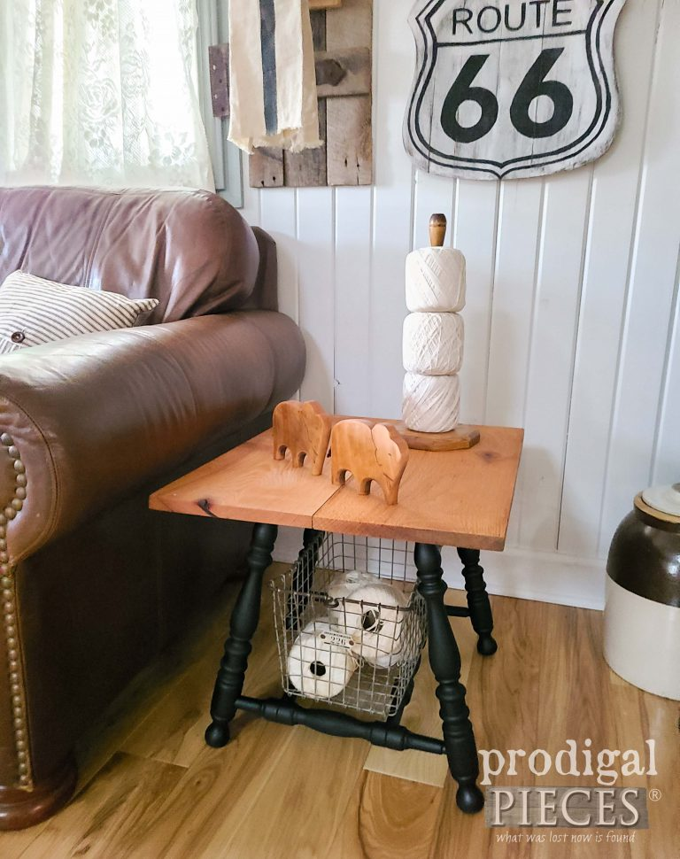 Rustic Farmhouse Side Table by Larissa of Prodigal Pieces | shop.prodigalpieces.com #prodigalpieces