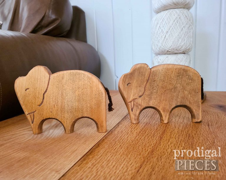 Pair of Hand-Carved Wooden Elephants by Prodigal Pieces   shop.prodigalpieces.com