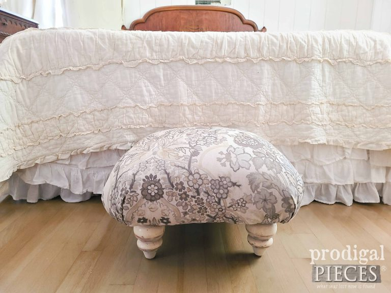 Upholstered Linen Ottoman for Bedroom by Larissa of Prodigal Pieces | shop.prodigalpieces.com