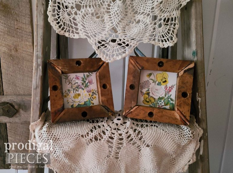 Set of 2 Mini Botanical Prints in Reclaimed Wood Frames available at Prodigal Pieces   shop.prodigalpieces.com #prodigalpieces #art #homedecor #shopping #farmhouse #reclaimed