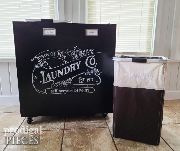 Portable Laundry Bin from Repurposed Filing Cabinet available at Prodigal Pieces   shop.prodigalpieces.com #prodigalpieces #laundry #home #shopping