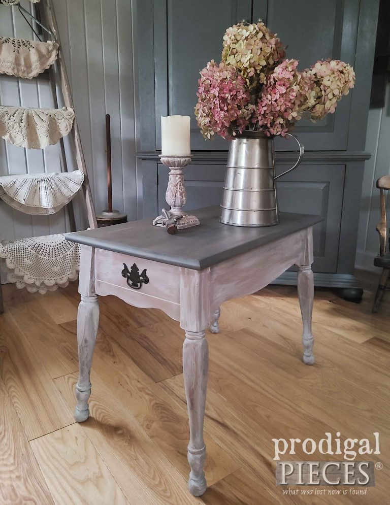 Small Vintage Farmhouse Side Table by Prodigal Pieces   shop.prodigalpieces.com #prodigalpieces